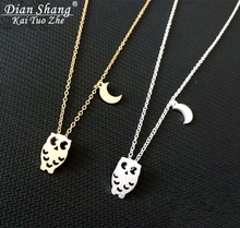 DIANSHANGKAITUOZHE Fashion Gold Silver Plated Half Moon Night Owl Maxi Collier Necklace Pendant Stainless Steel Lovers(China (Mainland))