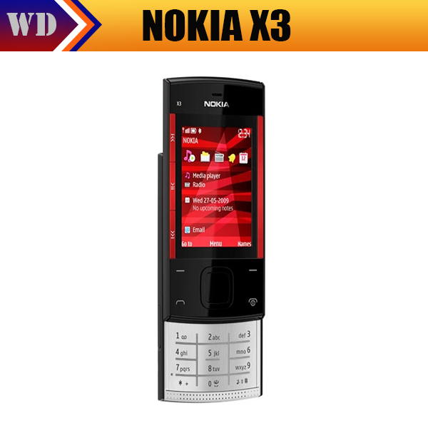 Original Nokia X3 Mobile Cell Phone Bluetooth 3.2MP MP3 Unlocked X3 Slider Cellphone & One year warranty(China (Mainland))