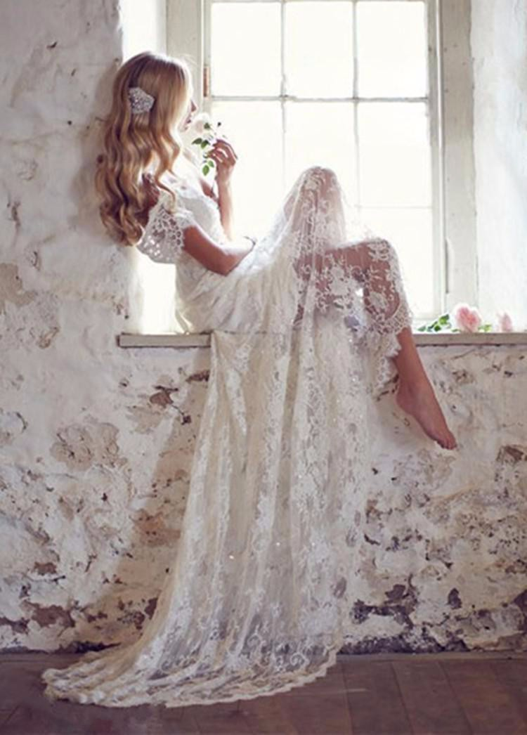 Se 34 vintage lace wedding dress with cap sleeves beach for Vintage lace dress wedding
