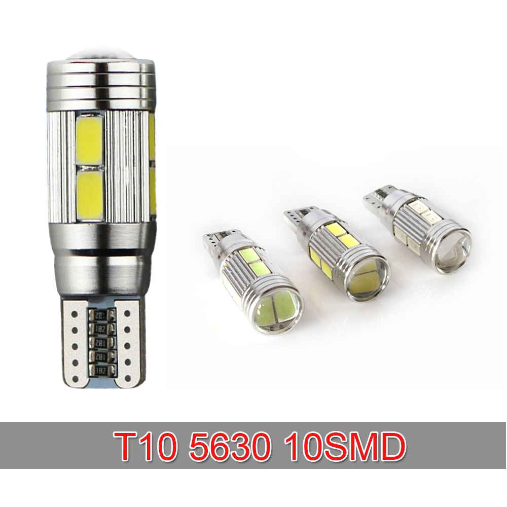Auto Car Light Bulb 5630 SMD 10 LED T10 LED W5W 12V Cold White Interior Parking fog light Projector Lens car styling(China (Mainland))