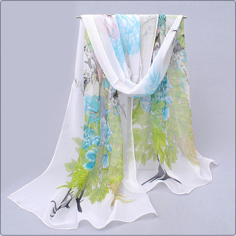 flowers promotion cachecol 2017 spring summer sunscreen chiffon georgette silk women long design belts pashmina wrap shawl(China (Mainland))