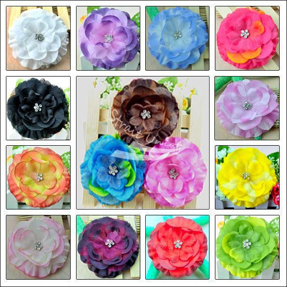 15pcs Baby GIRL Lady Jewel Centered Head Flower Hair Clip Bow(China (Mainland))