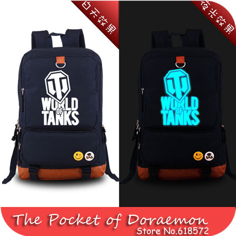 New 2015 Game WORLD OF TANKS Luminous Military Printing Backpack Canvas Men's backpacks school bags for teenagers(China (Mainland))