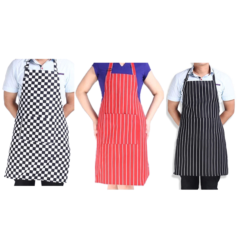 Fashion 1 PC Adult Cook Waiter Polyester Stripe Bib Apron with 2 Pockets Chef Waiter Kitchen Cook New Tool 3 Styles(China (Mainland))