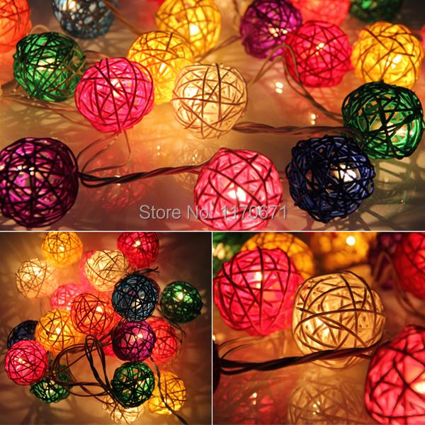 20pcs 7 Colors Sepak Takraw Ball Wedding Holiday New Year Christmas Garland Decoration Nightlight flasher Christmas Strip Light(China (Mainland))