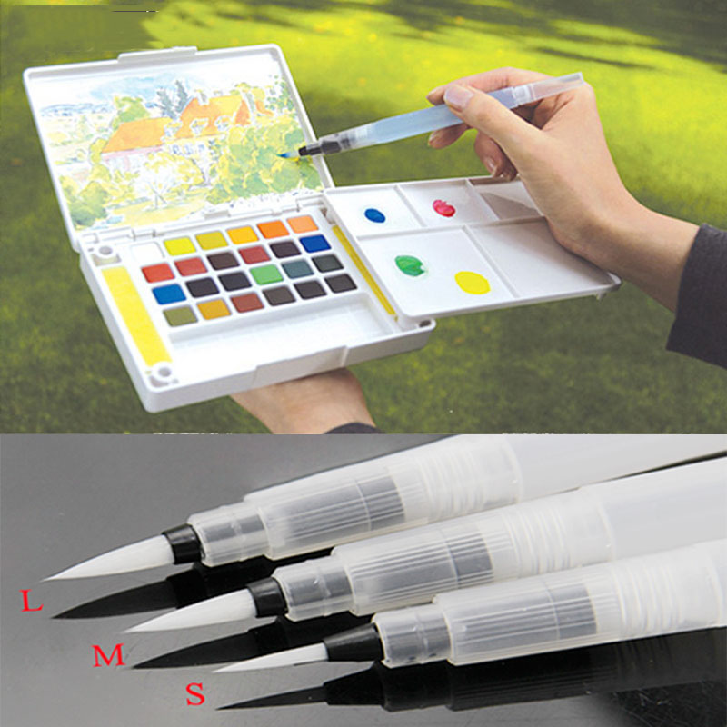 Refillable 1 Pc Water Brush Ink Pen for Water Color Calligraphy Drawing Painting Illustration Pen Office Stationery