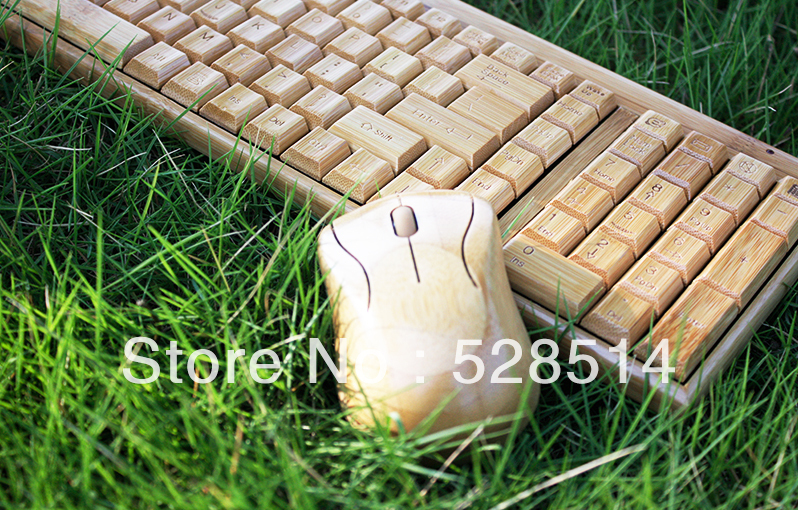 New Green High quality Wireless bamboo keyboard +mouse KG201-N+MG94-N from nature(China (Mainland))