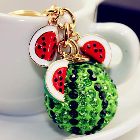 Новый зеленый арбуз мяч подвеска брелок сеть мода горный хрусталь безделушки металлический ...