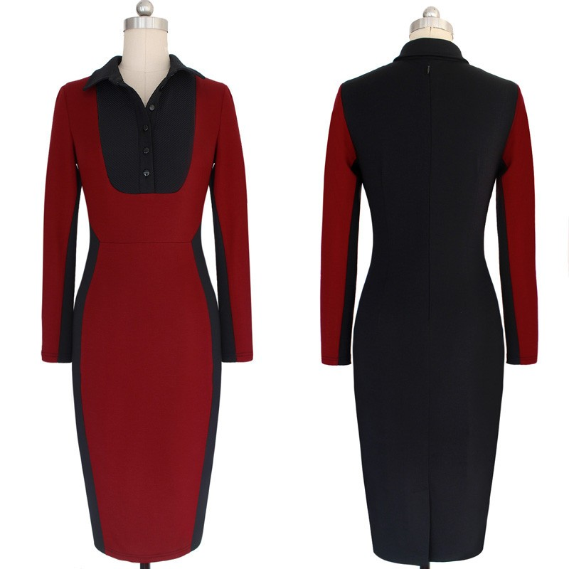 Womens New Autumn Colorblock Big size Wear to Work Office Business Career Slimming Stretch Bodycon Long sleeve Workwear Dress