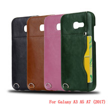 Buy New Faux Leather Skin Back Hard Case Cover Samsung Galaxy A3 A5 A7 2017 A320 A520 A720 Card Holder Vintage Style Phone Cases for $7.19 in AliExpress store