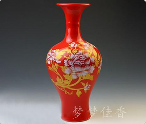 Gourd red art vase ceramic wedding crafts decoration vase(China (Mainland))