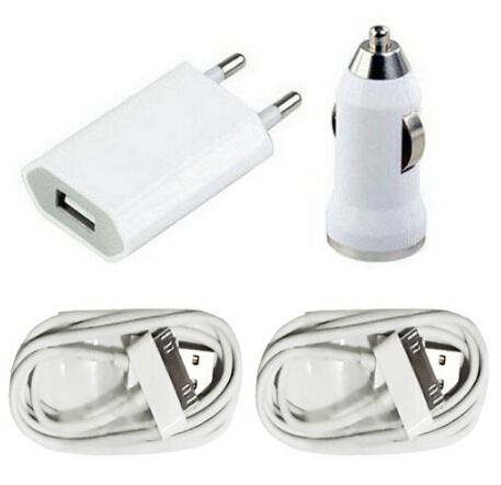 AC Power USB Wall charging adapter + usb car charger + 2X 30 pin cable 3 in 1 charger for iphone 4 4s ipod free shipping(China (Mainland))