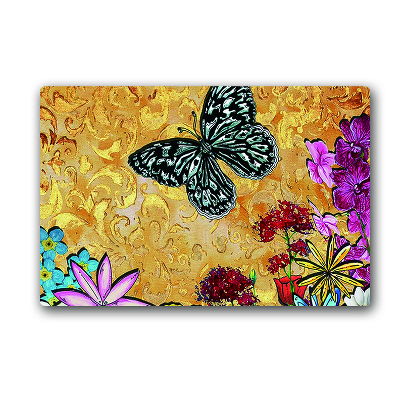 Classic Butterfly Slip-Resistant Kitchen Rugs Home Decoration Floor Mat Home Bedroom Carpet foam doormat absorbent mat 40*60cm(China (Mainland))