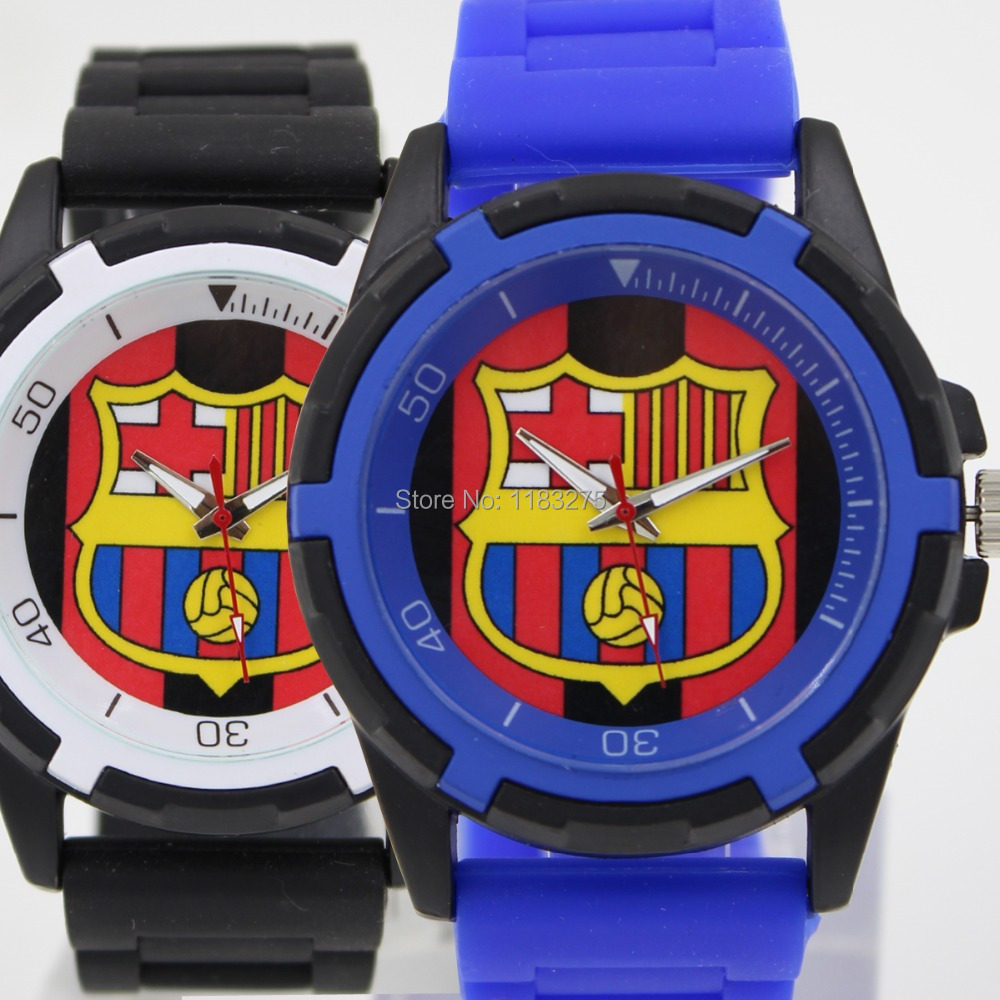 Barcelona Football Soccer Fans Souvenirs Fashion Casual Male Sports quartz Men Watches Silicone Strap Alloy Case Wristwatches(China (Mainland))