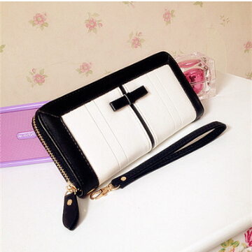 Black and white bow new Ms. long wallet cute wallet multi-card zipper clutch students(China (Mainland))