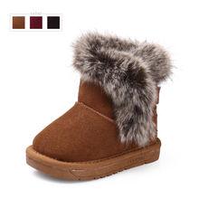 Cuero genuino patea snow kids zapatos de bebé de invierno para las niñas y niños caliente lindo niño tobillo botas Tmainy calzado infantil(China (Mainland))