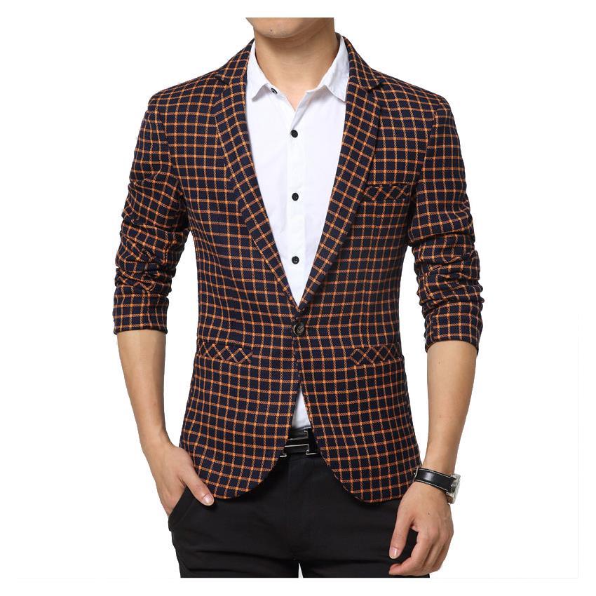 New fashion high grade cutton plaid blazer luxury imported fabric