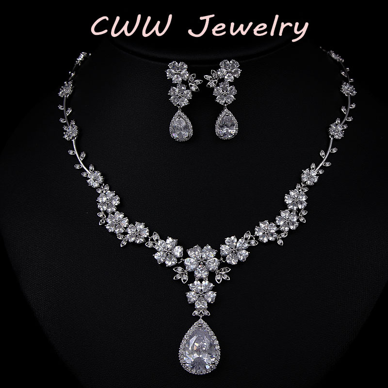 Aliexpress Buy 2015 New Fashion AAA CZ Diamond Bridal Flower Necklace And Earrings Cubic