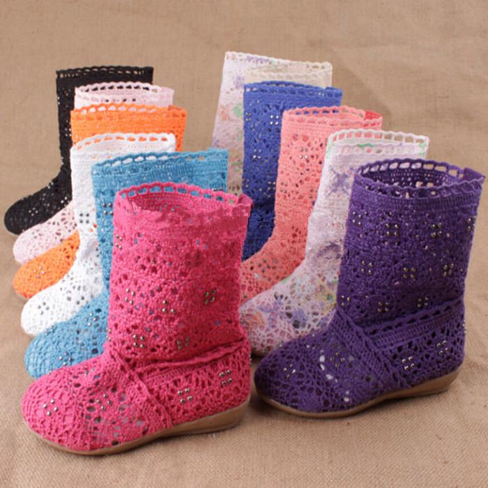 Дети обувь лето девочки сапоги вязание полые дети обувь сети для девочки