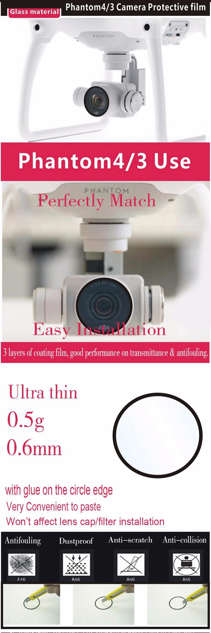 DJI Phantom 3/4 Accessories Camera Glass Film Ultra Thin Protective Film Dustproof Anti-scratch