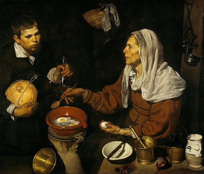Canvas Art Prints Fabric Wall Decor Giclee Oil Painting Diego Velazquez - An Old Woman Cooking Eggs(China (Mainland))