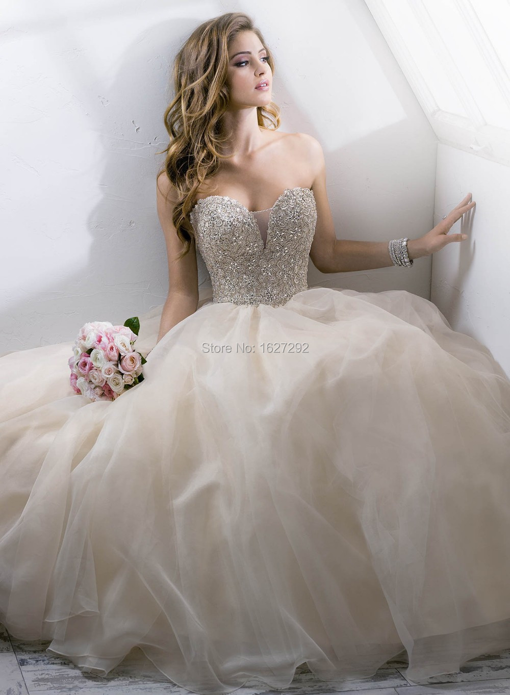 Wedding Dresses With Crystals : Vestido de noiva custom made romantic beading crystal