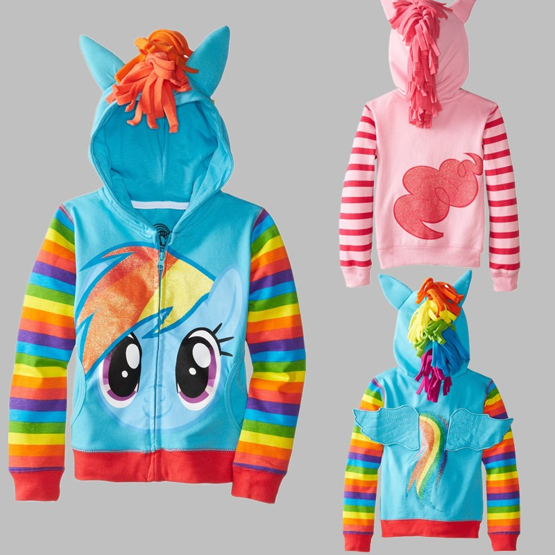2017 New little pony Girls Clothes Children Outerwear Kids Jackets Coat Hoodies Clothing Brand Baby Girls Child Wear (90-150)(China (Mainland))