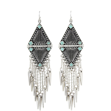 Fashion 2015 New Arrival Punk Women Ethnic Vintage Silver Plated Tassels Chunky Statement Drop Long Earrings For Women Jewelry(China (Mainland))