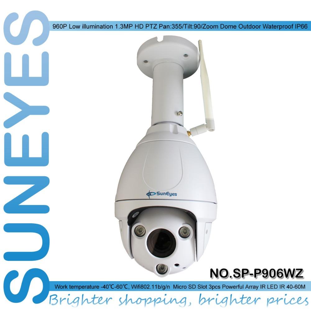 SunEyes SP-P906WZ  Outdoor Pan/Tilt/Zoom Dome IP Camera Wireless Wifi 1.3MP HD Low Lux IR Night  Micro SD Slot Ceiling Bracket <br><br>Aliexpress