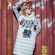 2015 new winters down jackets Fashion medium-long down coat one-piece dress 2015 with a hood print outerwear