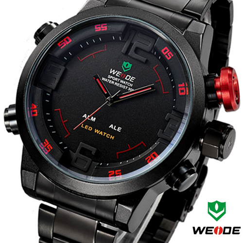 WEIDE relojes Military Watches Men Full steel Watch Sports Diver Quartz Wristwatch Multi-function LED Display Relogio Masculino