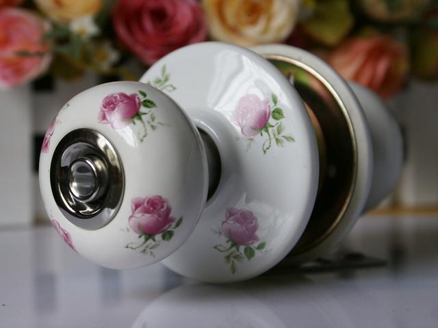 Free Shipping 1pc/lot Ceramic room Door Lock / ceramic locks/ Indoor lock with key(China (Mainland))