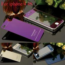 2pcs Front+Back Mirror Colorful Tempered Glass Protective Film For iPhone 4 4s 5 5s 5se Full Cover Screen Protector