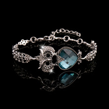 Ethnic Owl Shape Heart Crystal Multicolor Bracelet Bangle Women Jewelry Alloy 18K Gold/Silver Charm Chain Vintage Animal Style(China (Mainland))