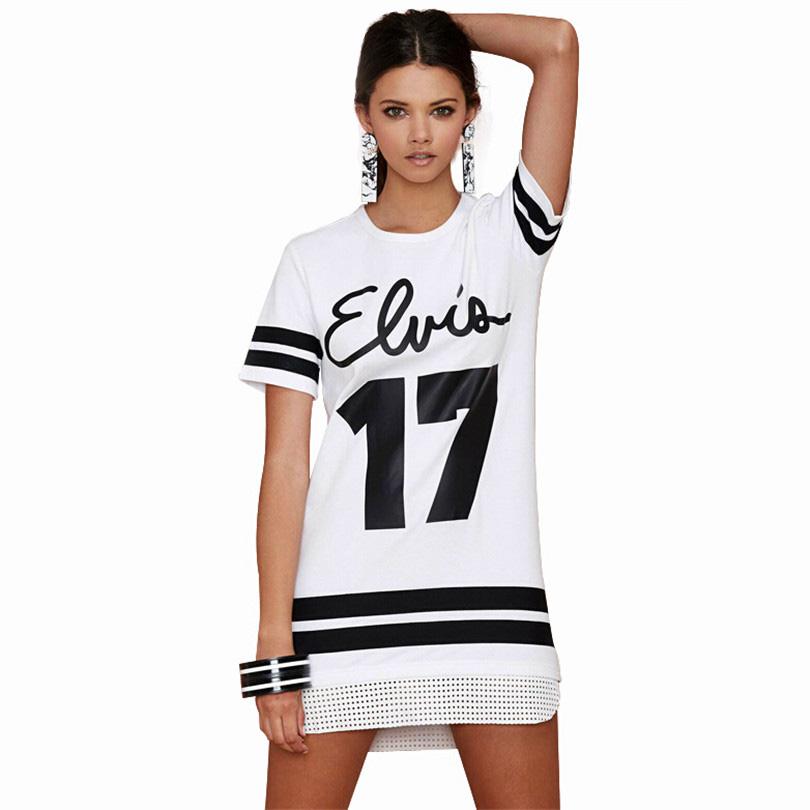 Fashion Women Long T Shirts Printing Letter Shirts Hollow Out Hem Short Sleeve Tshirt Number 17 Black White Stripe Clothes S177(China (Mainland))