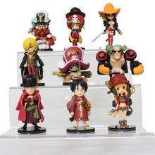 New 9Pcs Anime One Piece Action Figure Toys Model Figuarts Zoro Monkey D Luffy Thunsand Sunny Sanji Fighting One Piece Figure