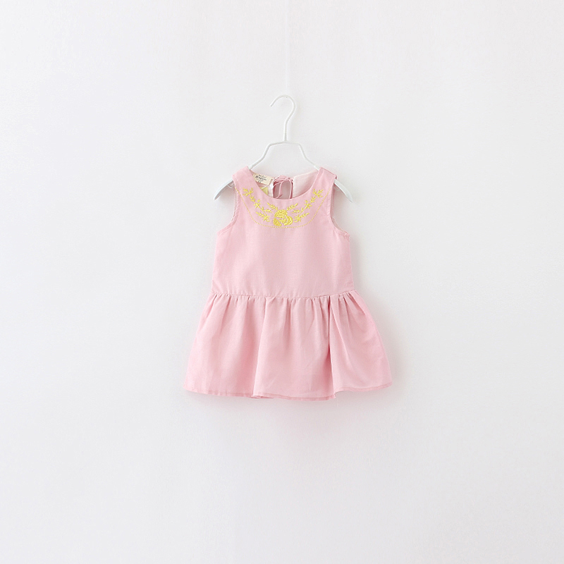 Girls Summer Solid Dress Fashion New Kids  Priness With Embroidery Cute Baby Brief Sleeveless Children O-Neck Clothing 6pcs/LOT<br><br>Aliexpress