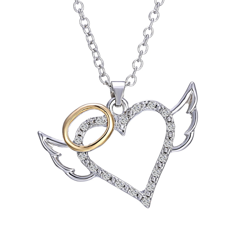 2016 new fashion design silver crystal heart pendant necklaces angel wing rhinestone women necklaces(China (Mainland))