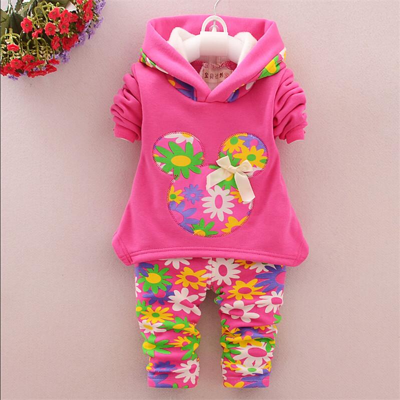 2015 new autumn/winter baby girls lamb wool warm clothing set suit children thick fleece sweatshirt + leggings kids clothing set(China (Mainland))