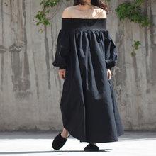 [EAM] 2019 新秋冬スラッシュネックロング白ルーズビッグサイズロング気質ドレスの女性のファッション潮 JS4520(China)
