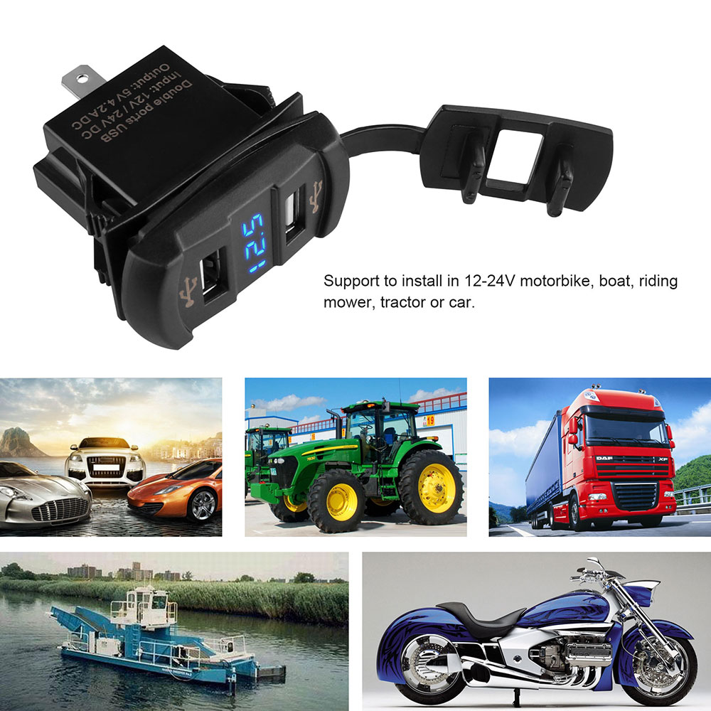 12-24V 4.2A Dual USB Port Phone Car Charger Socket Adapter Quick Charge Blue Red LED Voltmeter for Car Boat Motorcycles Panel(China (Mainland))