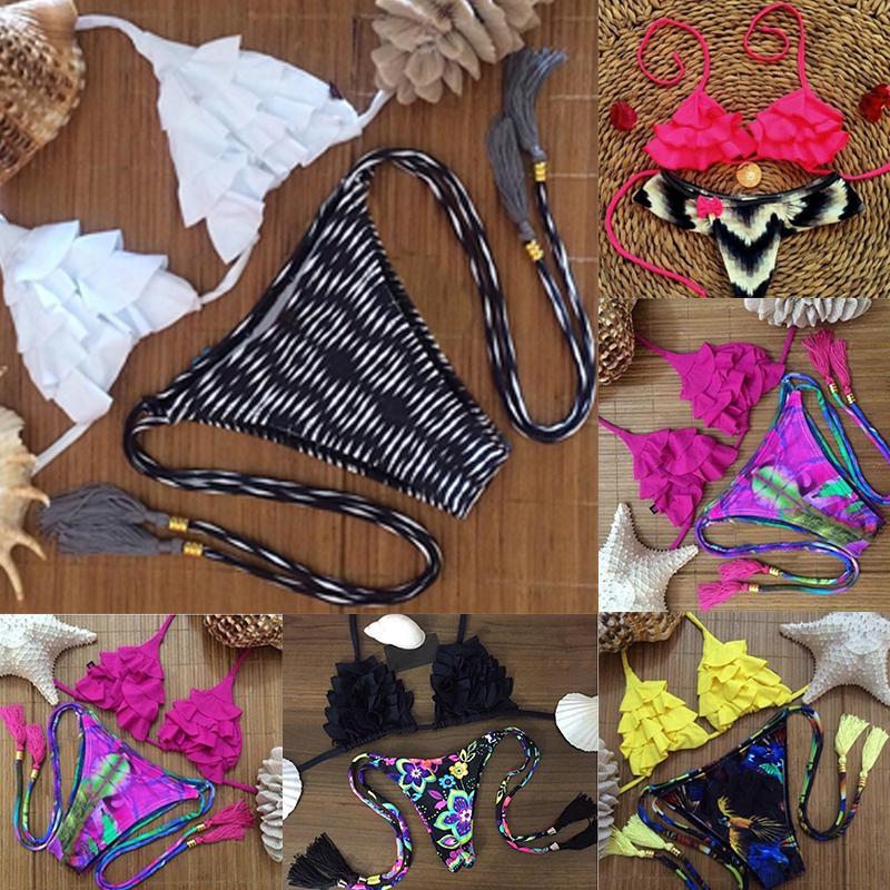 2015 Hot Sale Women Sexy Bikini Set Tassel Frill Bandage Swimsuit Floral Print Thong Swimwear Brazilian