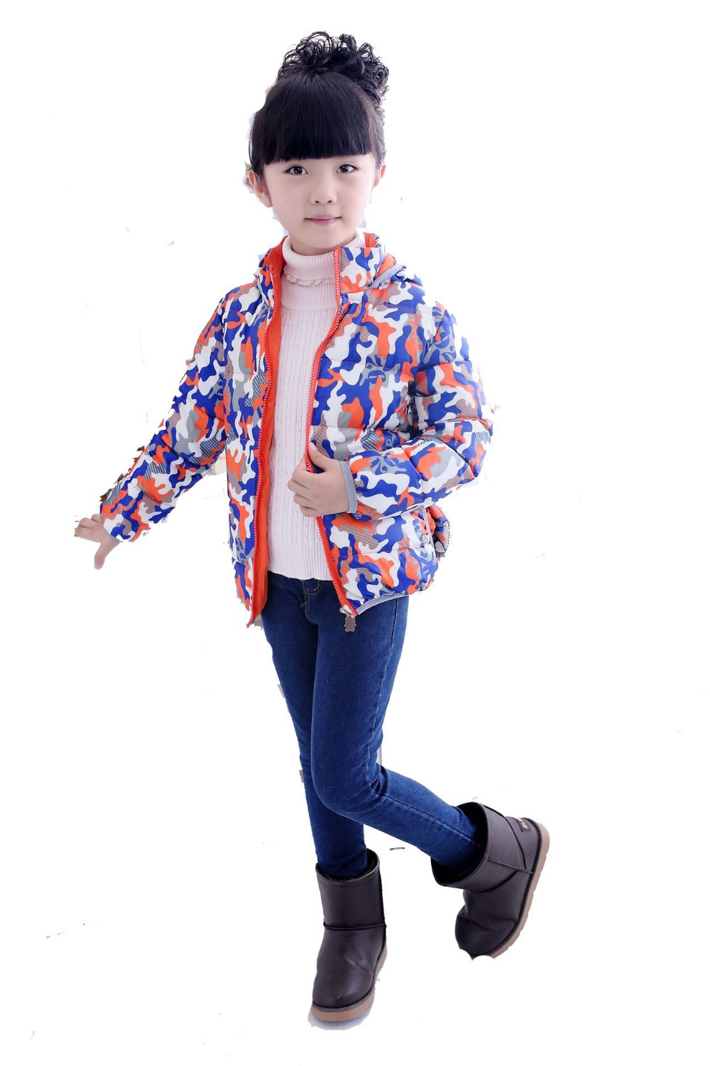 new Boys Girls Fashion Camouflage Warm Down Coat Children Winter White Duck Down Filling Jacket Kids Hooded Parkas Clothing