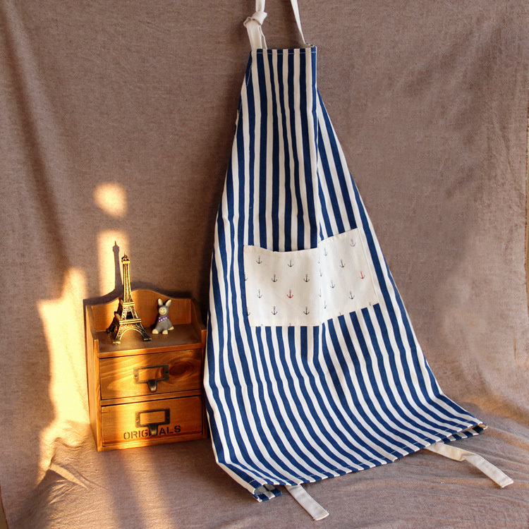 cute cotton and linen kitchen apron for woman stripe lace delantal cocina cooking apron(China (Mainland))