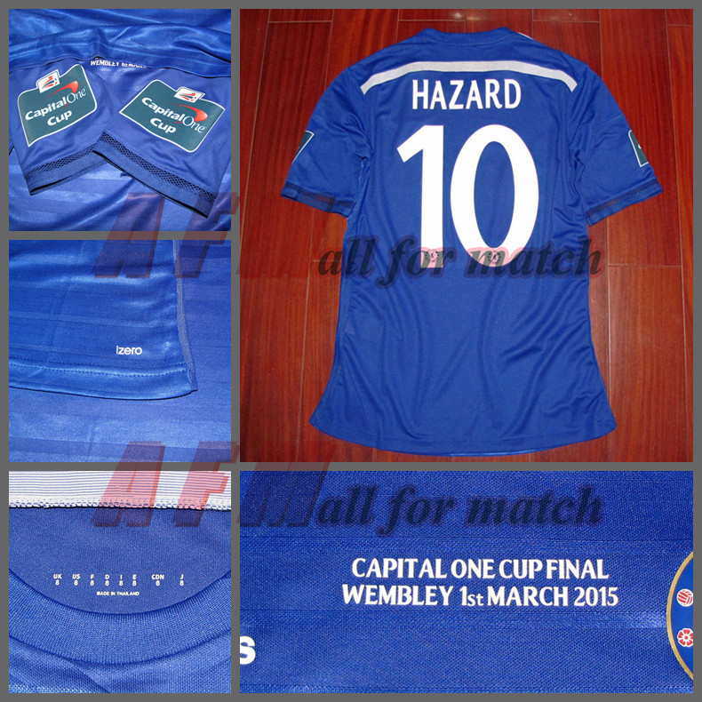 Capital One Cup FINAL Chelsea 14/15 Match Worn Player Issue Shirt S/S Jersey HAZARD DIEGO COSTA FABREGAS Soccer Football(China (Mainland))