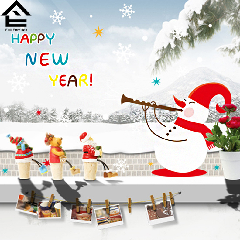 DIY Wall Stickers For Kids Rooms Christmas Wall Stickers Happy New Year Snowman Snow Removable Wall Stickers FF qt032(China (Mainland))