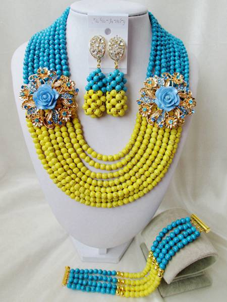 Fashion  NEW African Beads Jewelry Set Stone Beads Necklace Set Nigerian Wedding African Jewelry Set Free shipping   FV-015<br><br>Aliexpress