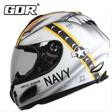 (1pc&2colors) Newest High Quality GDR Brand Motorcycle Full Face Helmet Black wolf&White Navy Moto Cross Casque Casco Capacete