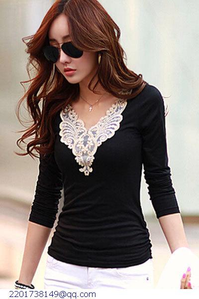 2015 Top Limited Women Tops Tshirt Crochet Blouse Blusa Splicing V-neck Long-sleeve T-shirt Camisetas Femininas Lc25223 Camisa(China (Mainland))
