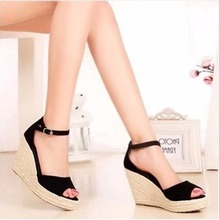 2015 summer new fashion Women straw wedge sandals platform shoes fish head shoes Women sandals Larger size 32-43